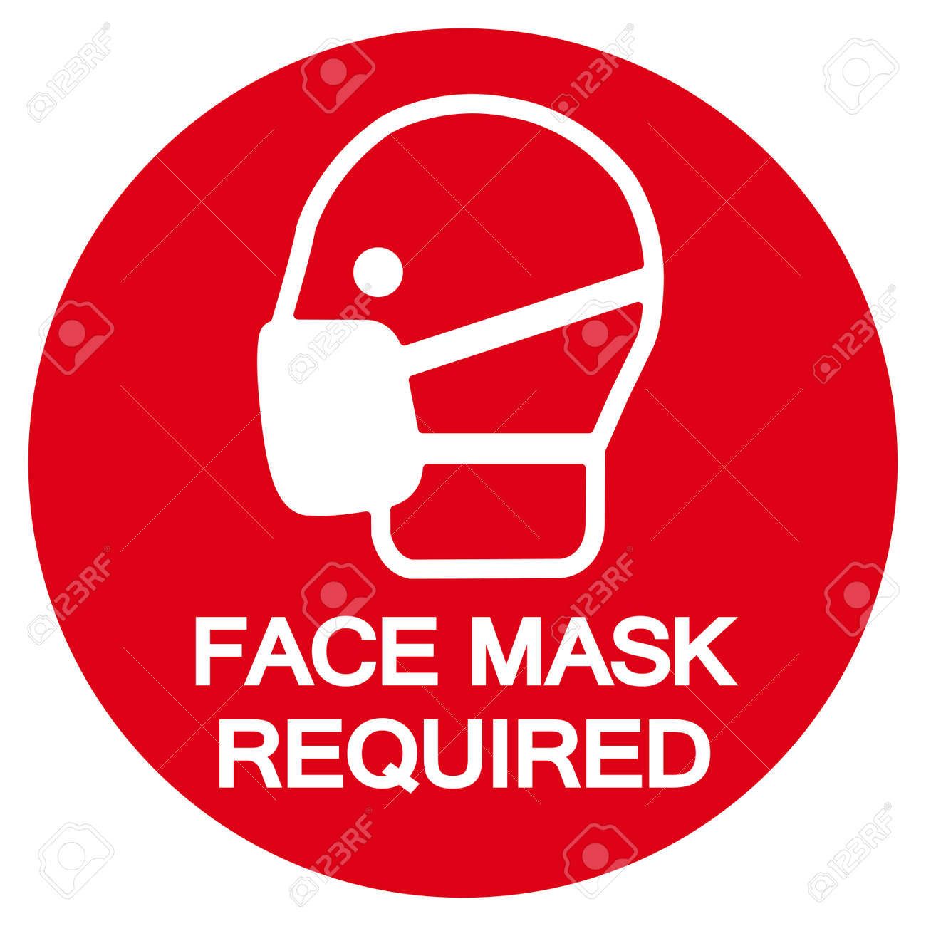 Face Mask Required Symbol Sign,Vector Illustration, Isolated On White Background Label. EPS10 - 155624552