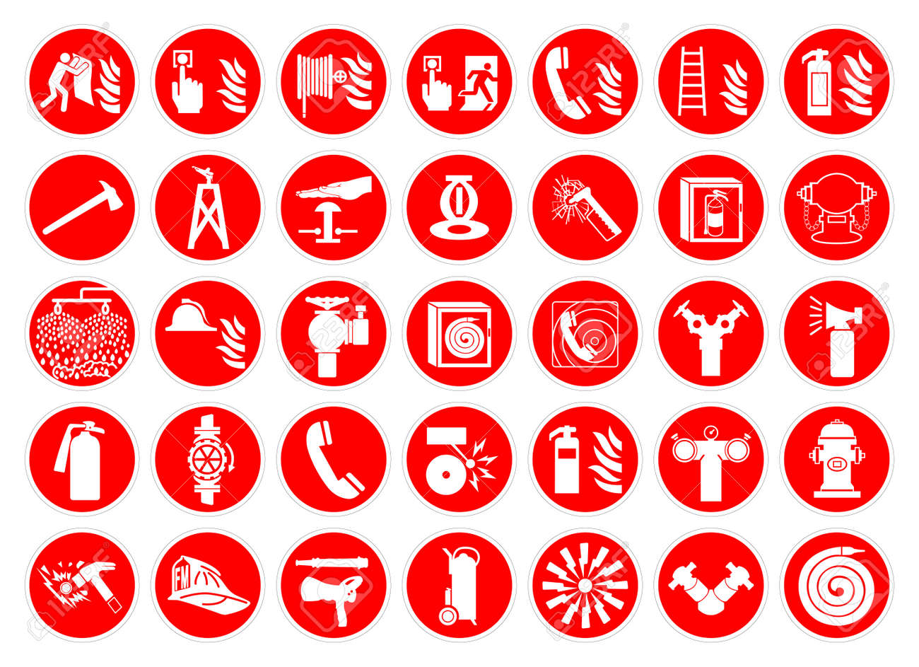 Set Of Fire Safety Collection Symbol Sign, Vector Illustration, Isolated On White Background Label .EPS 10 - 158541327