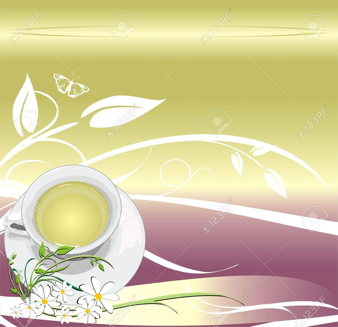 Cup with tea. Abstract background for wrapping. Vector Stock Vector - 3564430