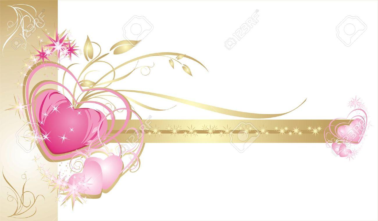 Hearts Decorative Frame Wedding Card Vector