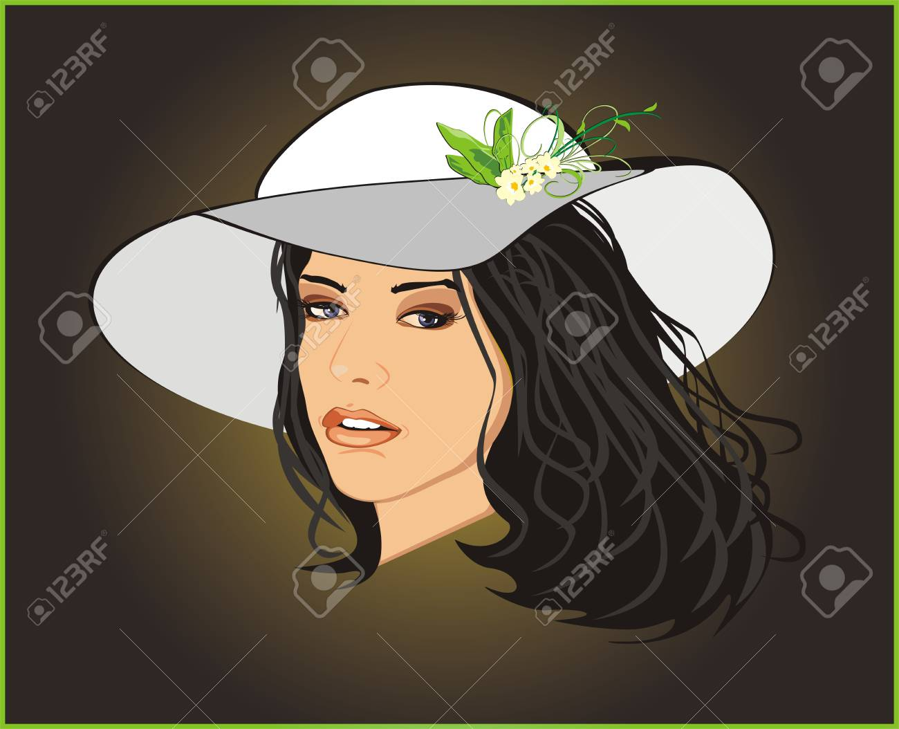 Beautiful woman in a hat. Vector Stock Vector - 4233716
