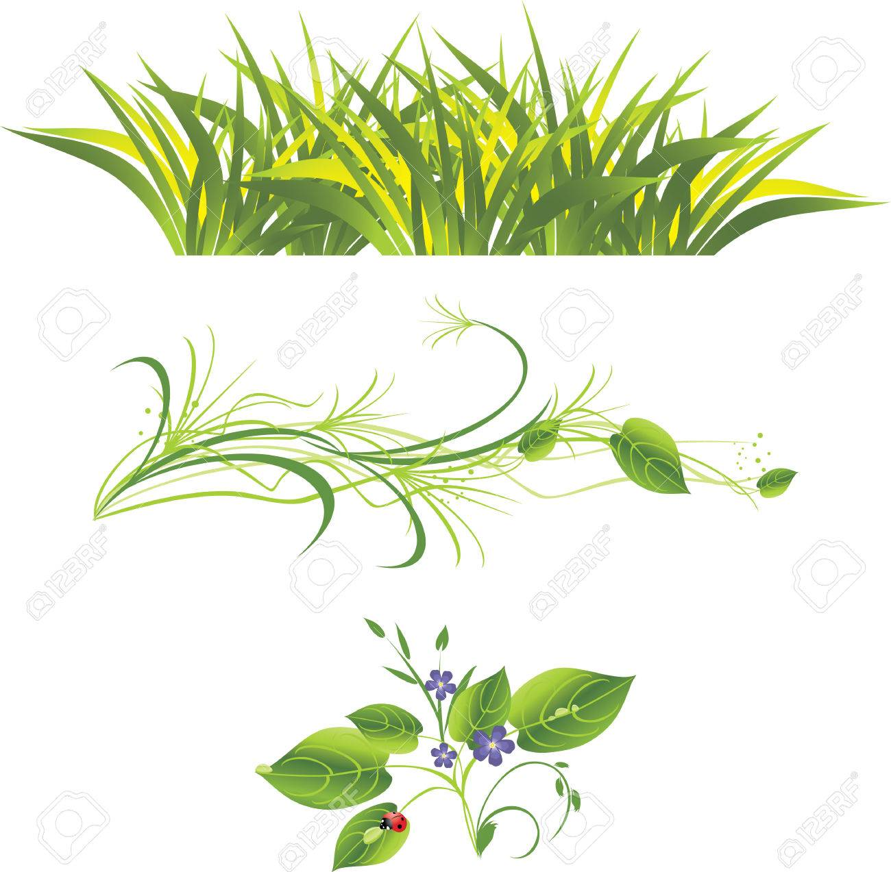 Sprig with flowers, grass and ladybird. Three isolated compositions. Stock Vector - 6068911