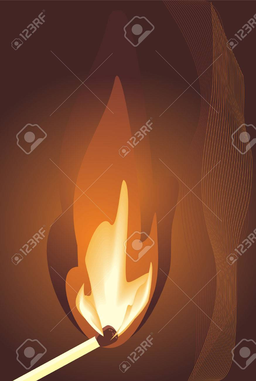 Burning match. Vector Stock Vector - 6136927