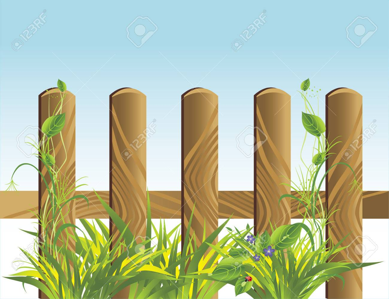 Grass and wooden protection. Vector Stock Vector - 6248365