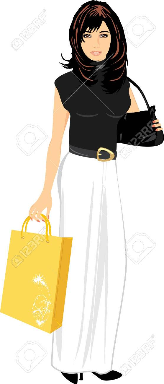 Elegant beautiful woman with handbag and package Stock Vector - 8738408