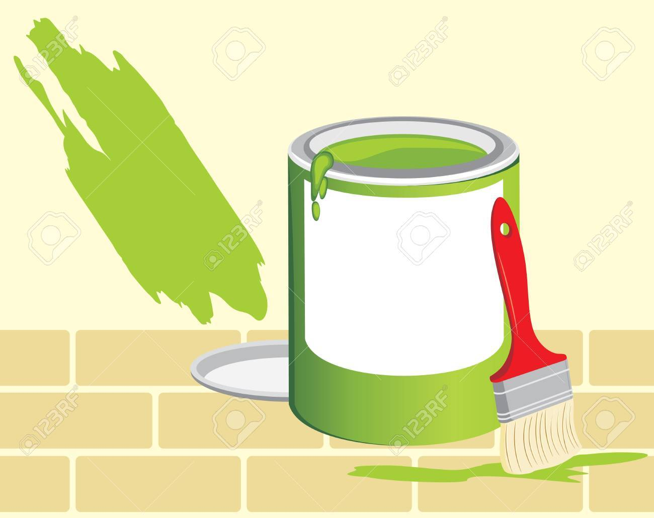 Jar with a paint and brush on the background of brick wall Stock Vector - 9376440