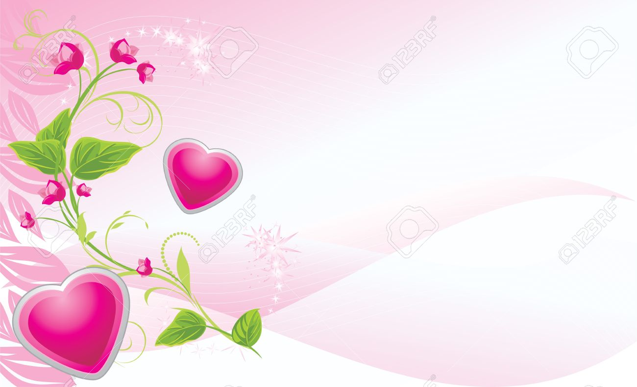 Sprig with pink flowers and hearts on the abstract background sprig with pink flowers and hearts on the abstract background banner stock vector 10366876 mightylinksfo