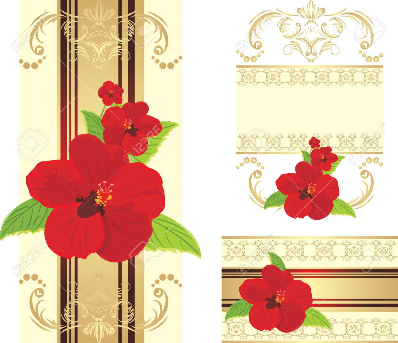 Red flowers on the decorative ribbon with ornament. Set for design Stock Vector - 10613261
