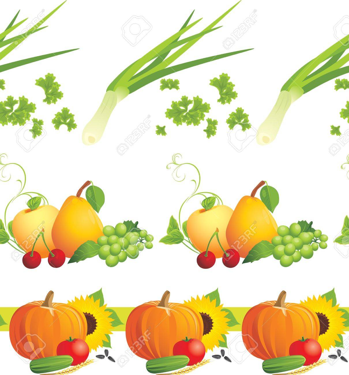 Food ingredients. Decorative borders Stock Vector - 11170488