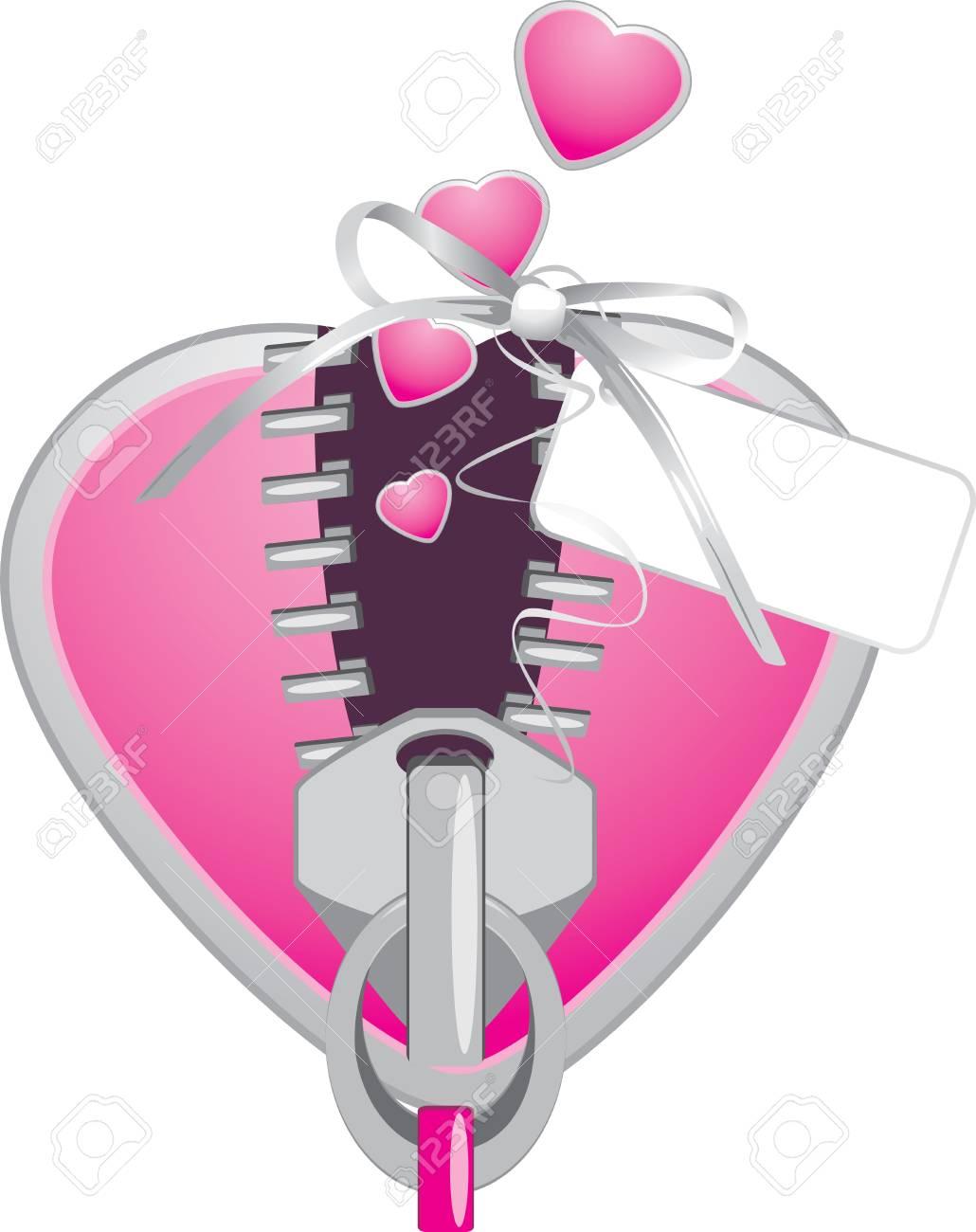Pink heart with zipper. Festive element Stock Vector - 11938139