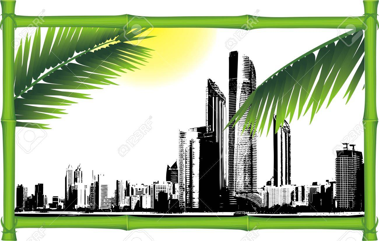 Panorama of city in the decorative bamboo frame Stock Vector - 12043190