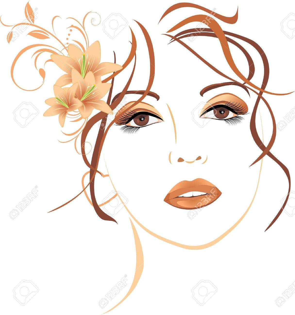 Portrait of beautiful woman with lilies in hair Stock Vector - 12168847