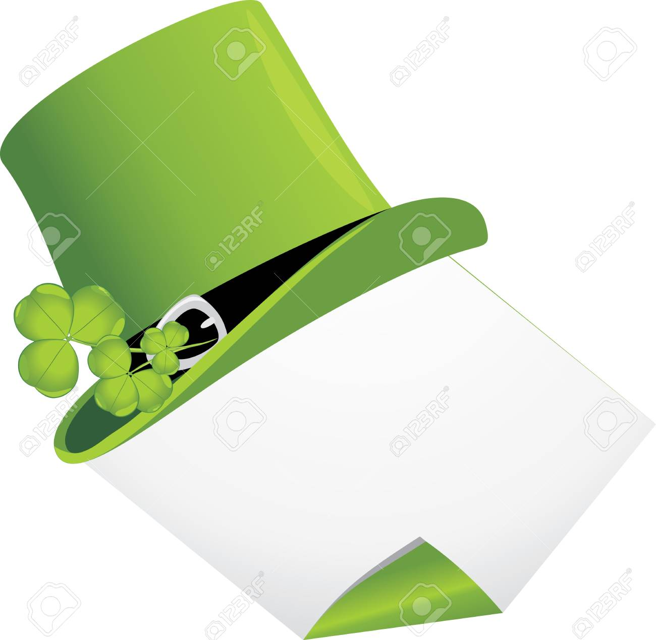 Curled page and St  Patrick s Day hat with clover Stock Vector - 12763620