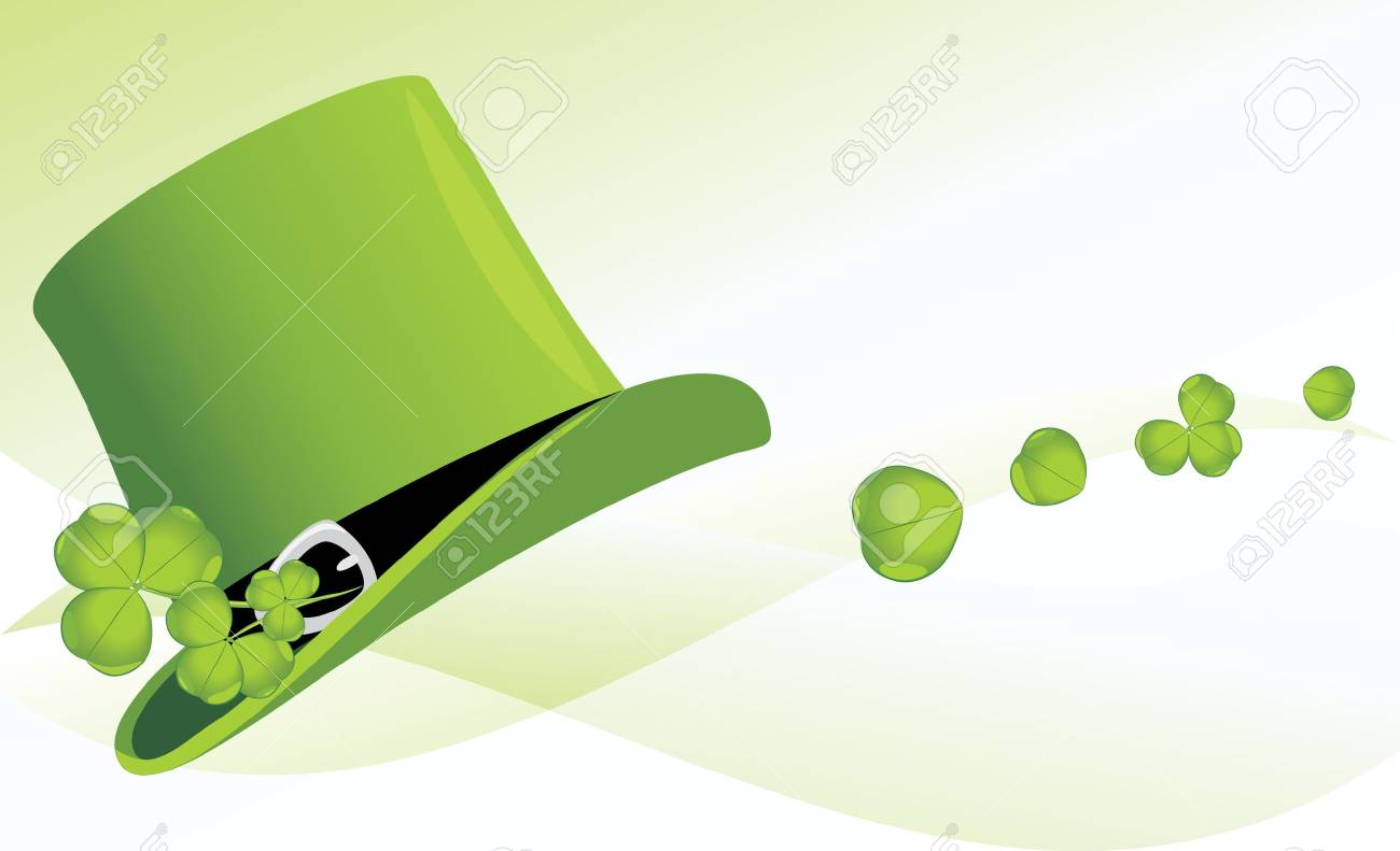 St  Patrick s Day hat with clover  Festive banner Stock Vector - 12763653
