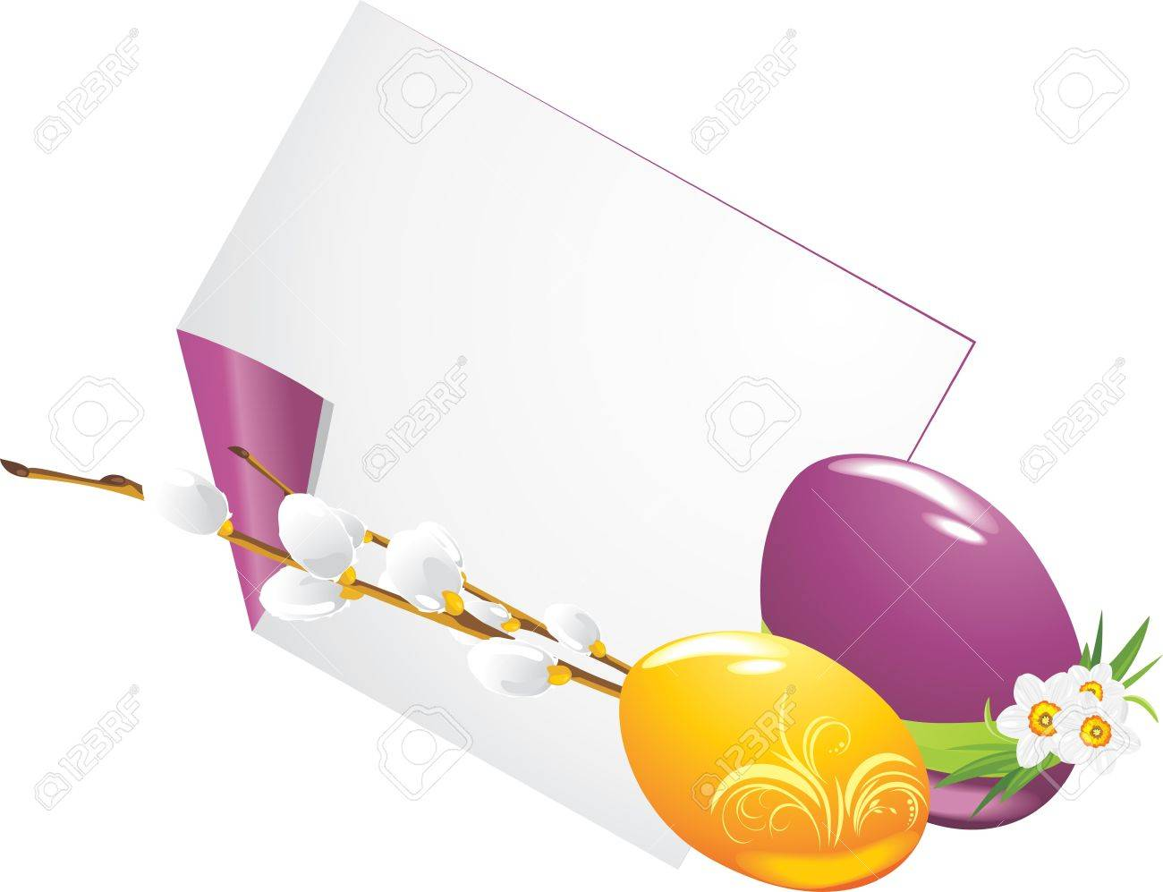 Easter eggs and curled page with willow branch Stock Vector - 12924888