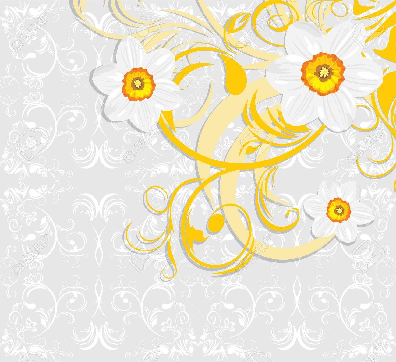 Daffodils on the ornamental background Stock Vector - 13029009