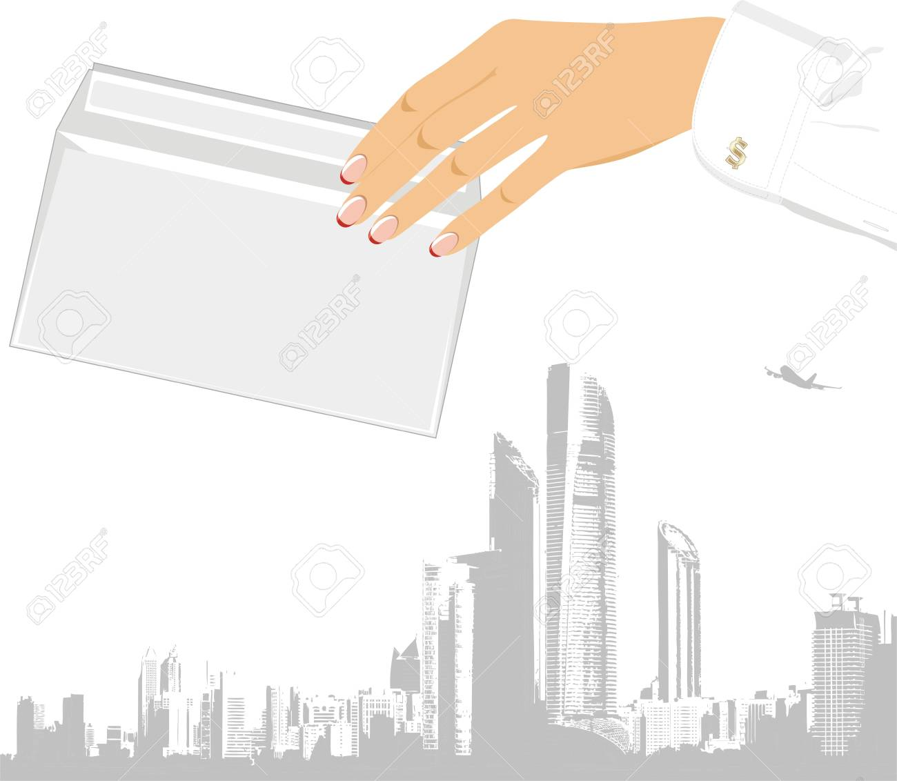 Female hand with envelope  Business concept Stock Vector - 14074185