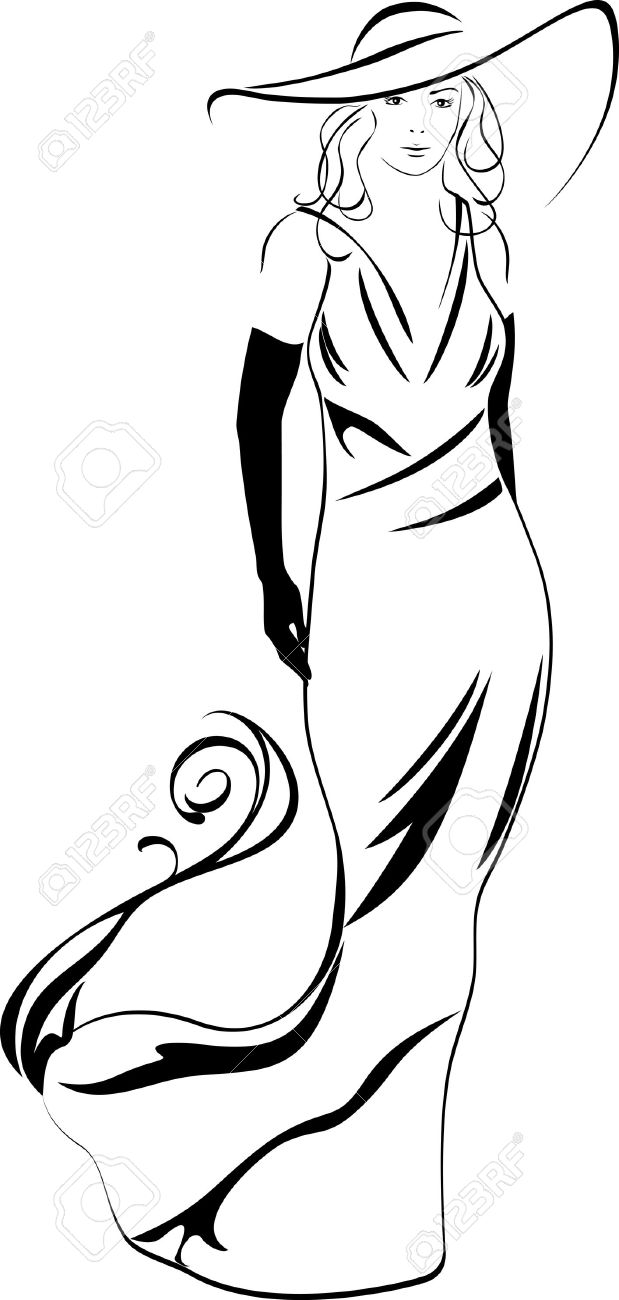 Silhouette of a elegant woman Stock Vector - 15134669