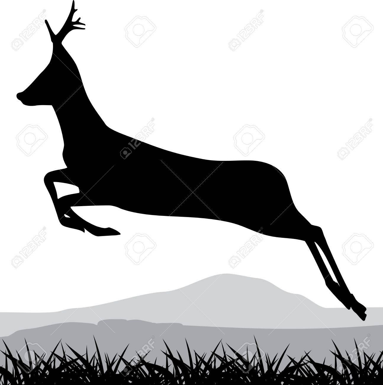 silhouette of a running deer stock vector 16270946