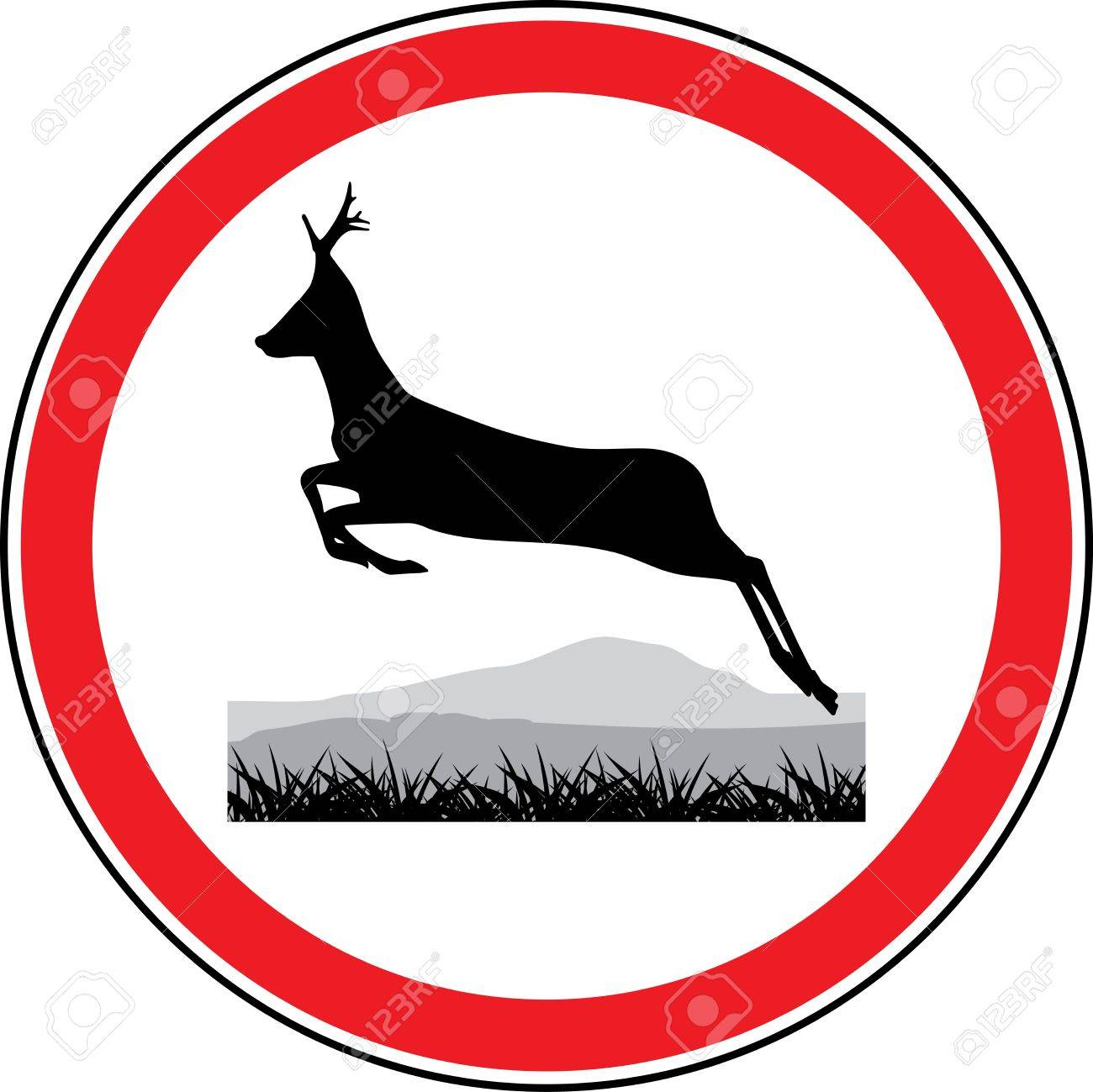 silhouette of a running deer road sign stock vector 16270945