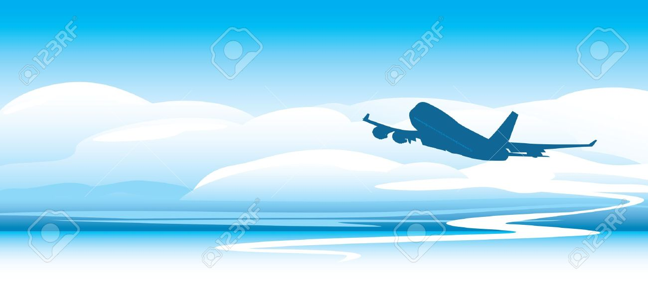 Silhouette of an airplane in the clouds Stock Vector - 18285213