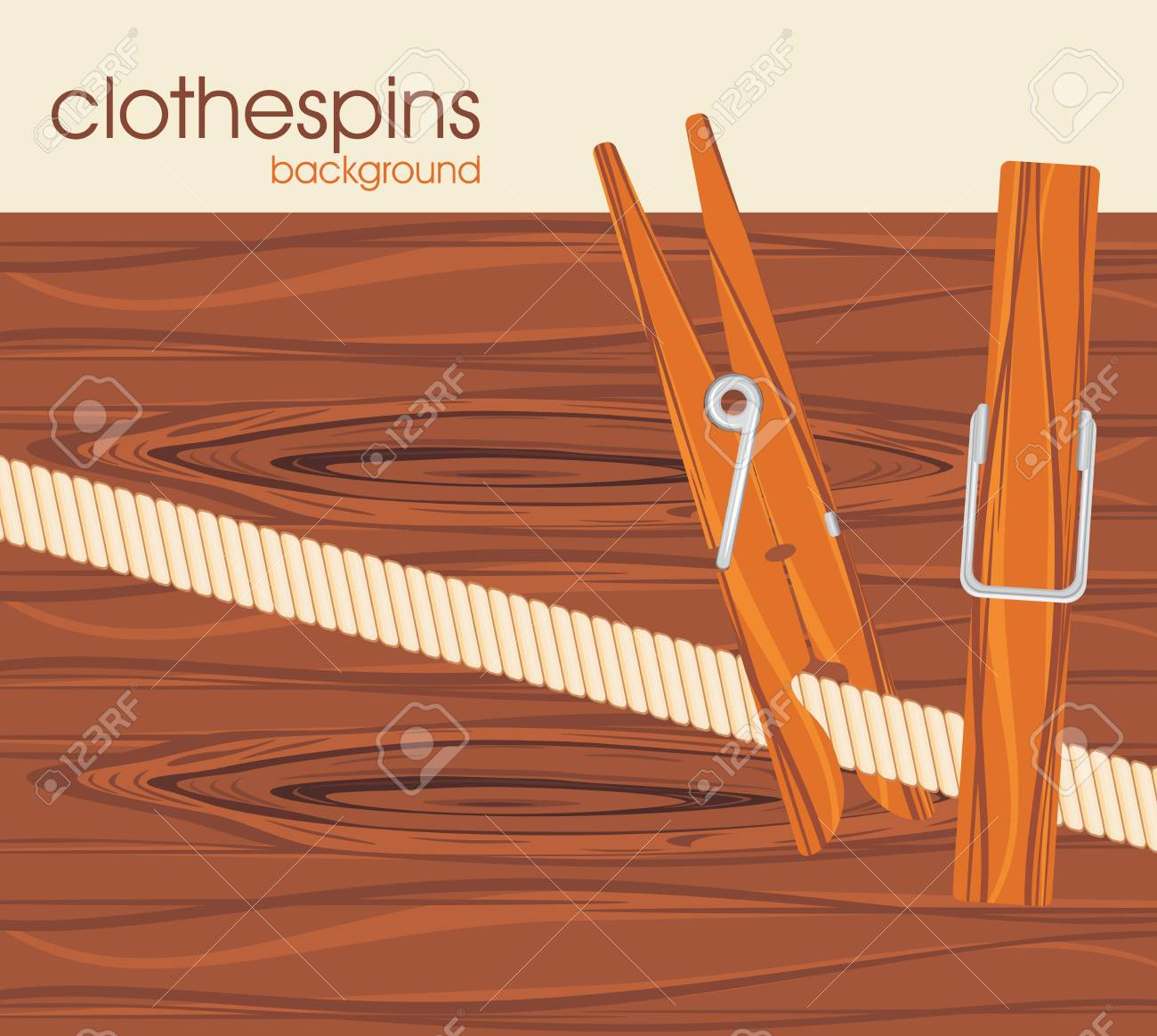 Clothespins on the wooden background Stock Vector - 19025663