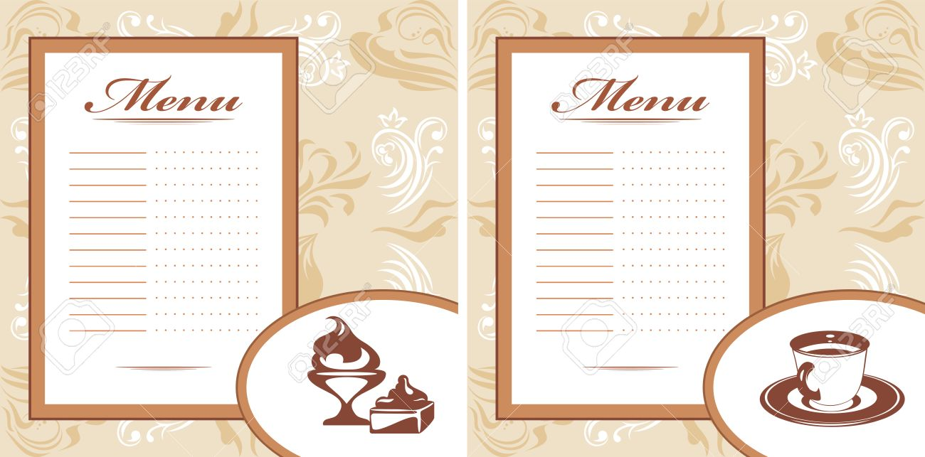 Drinks Pastry And Ice Cream Menu Card Template Royalty Free