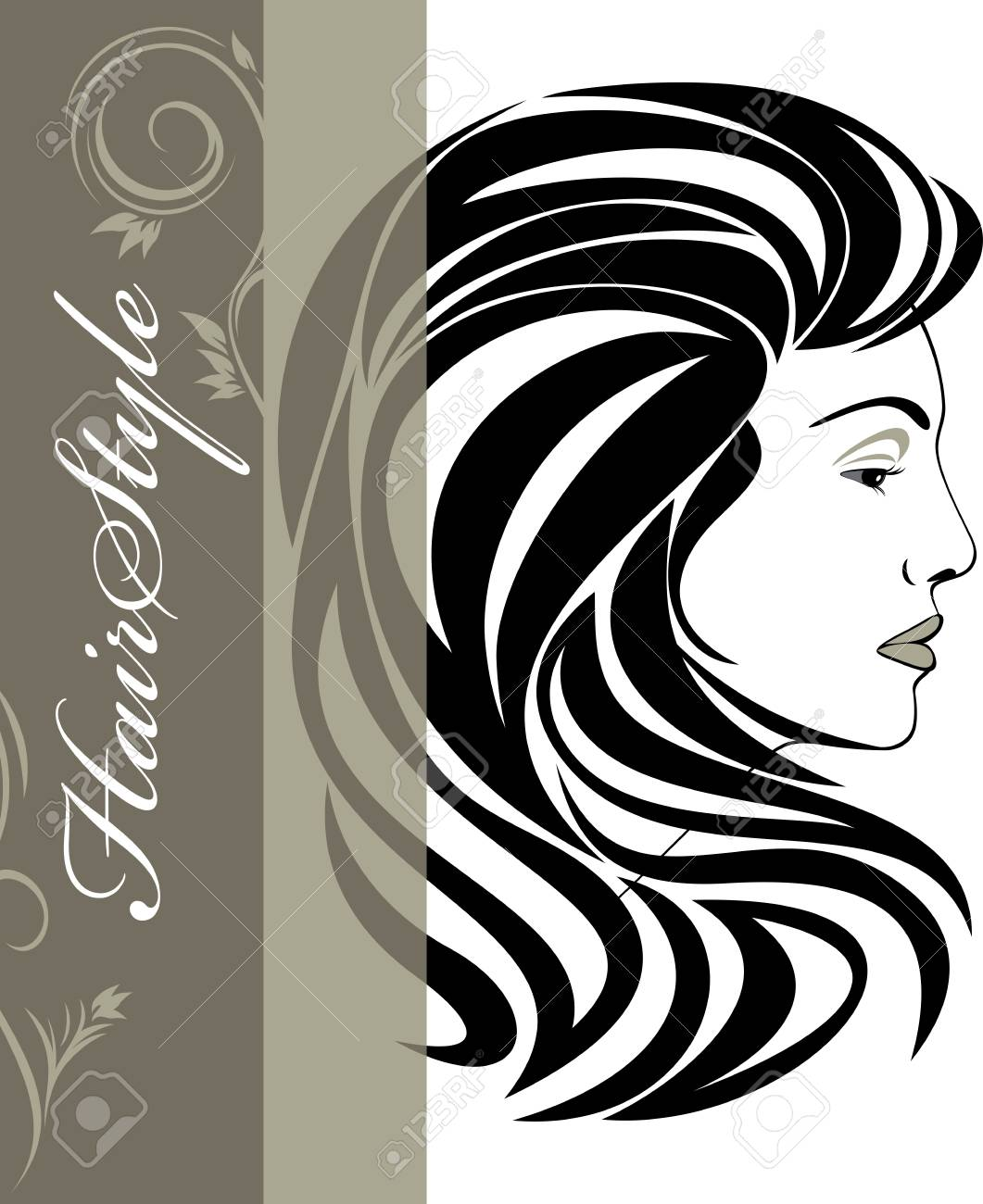 Portrait of elegant woman  Hairstyle banner Stock Vector - 22725469