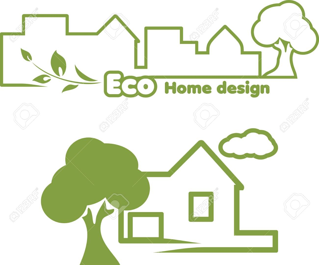 Eco Home Design Icons For Design Royalty Free Cliparts, Vectors, And ...