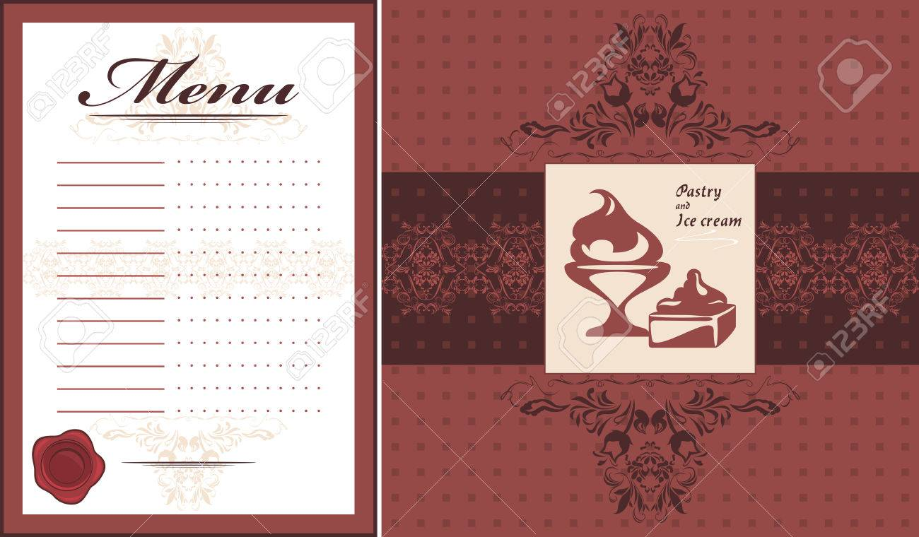 Pastry And Ice Cream Menu Card Template And Label For Design