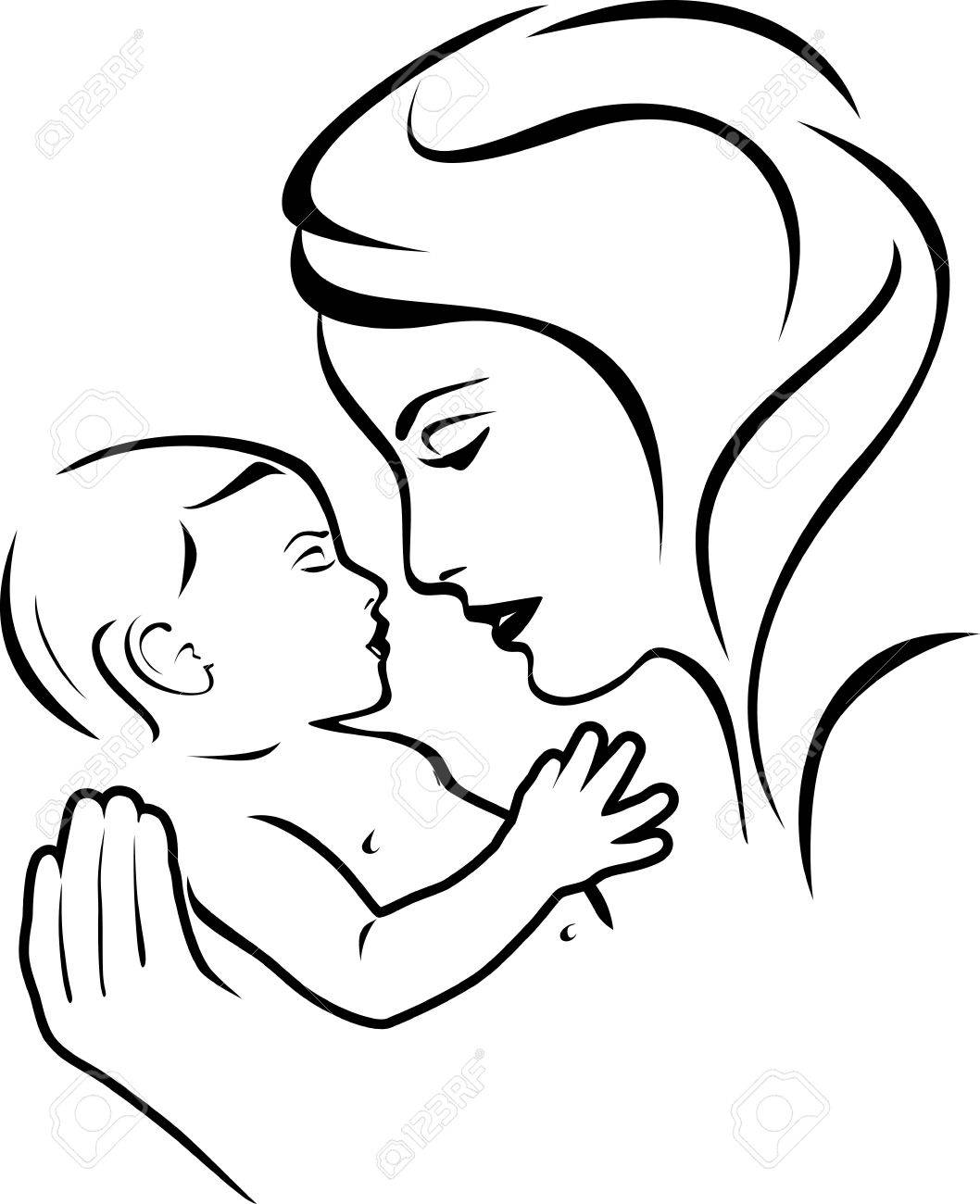 Baby And Mother Black And White Royalty Free Cliparts Vectors And Stock Illustration Image 56921388