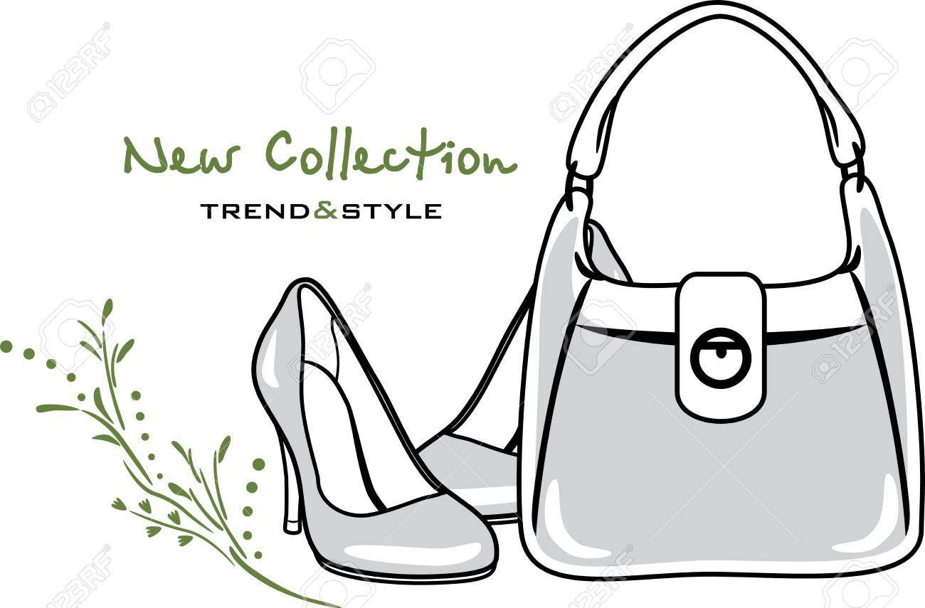 09b07e2c62 Bags and shoes. New collection. Icon for vintage design Stock Vector -  88635213