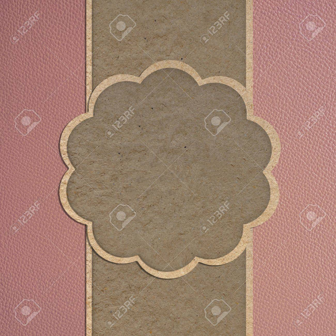 leather texture and paper craft stick template frame design for greeting card stock photo 12249950