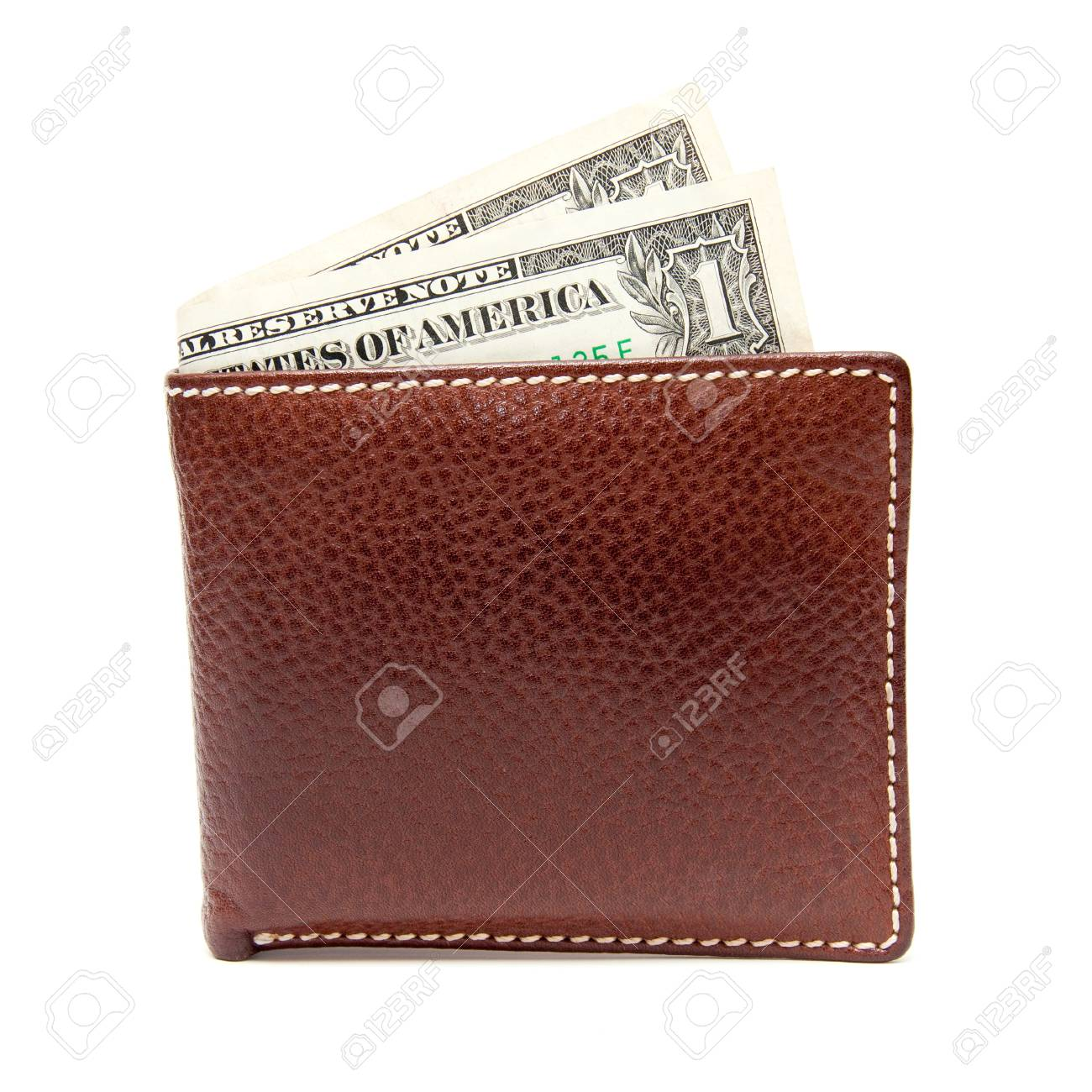 brown leather wallet with money isolated on white background Stock Photo - 14210999