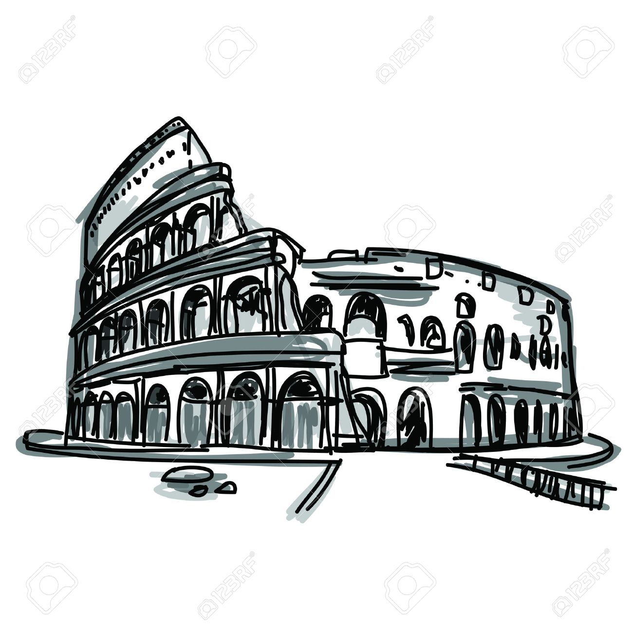 Free Hand Sketch World Famous Landmark Collection Colosseum ...
