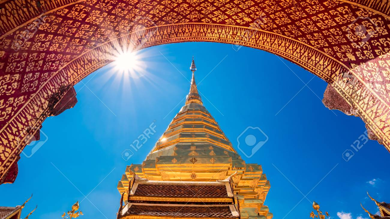 Wat Phra That Doi Suthep with blue sky in Chiang Mai. The attractive sightseeing place for tourists and landmark of Chiang Mai,Thailand - 92355912