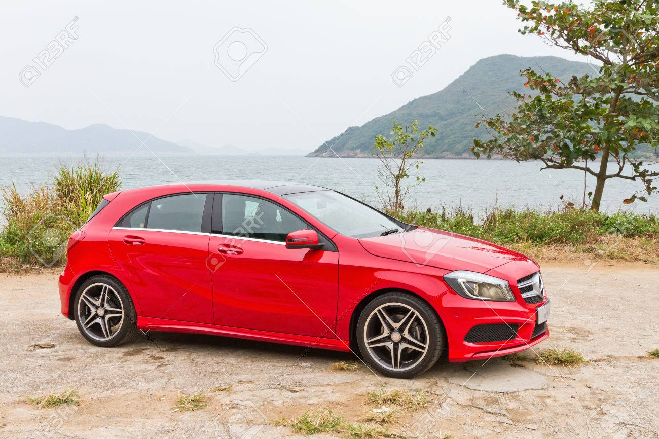 Mercedes Benz A Class 2012 Red Colour Model Stock Photo Picture