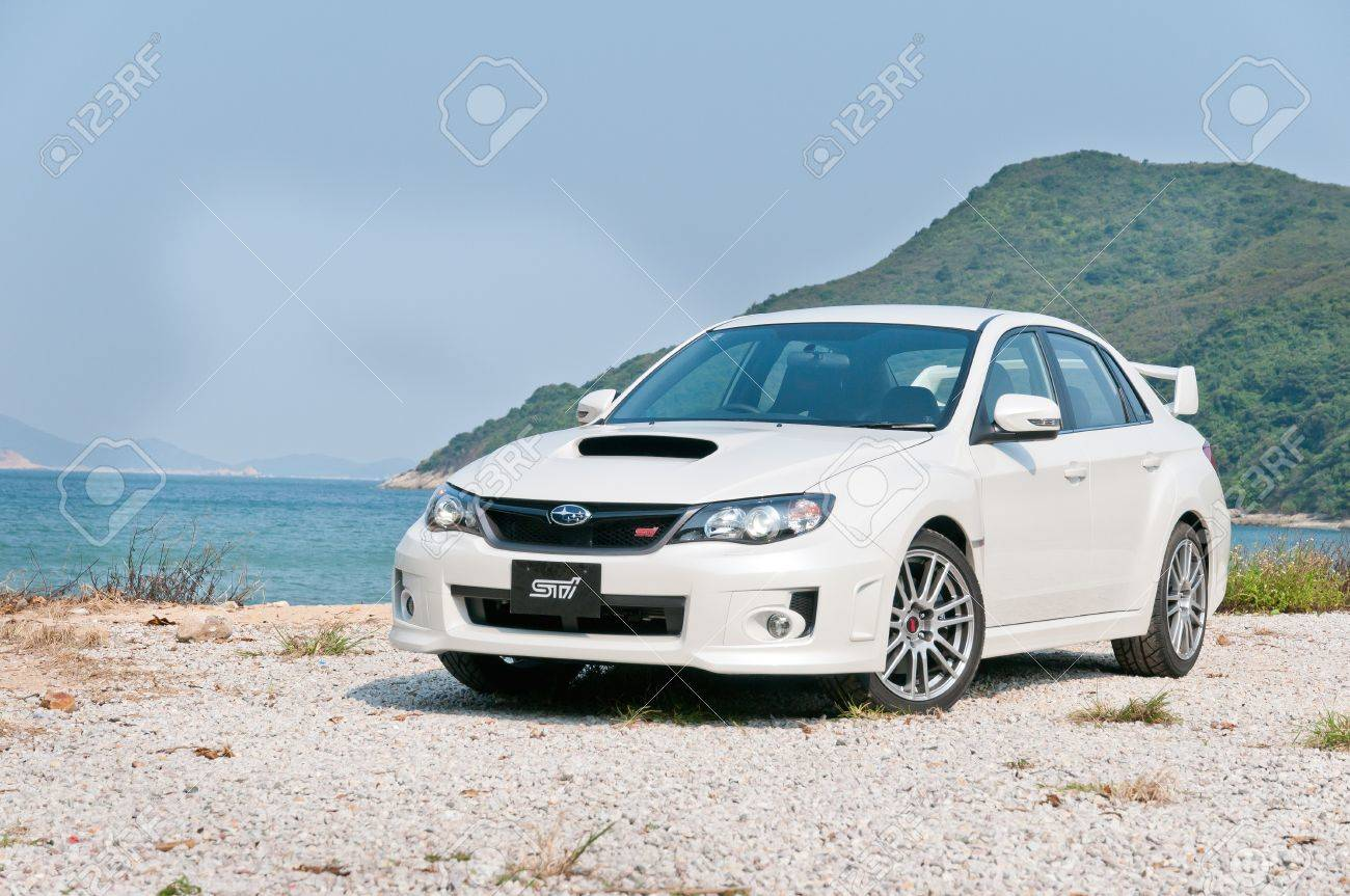 Subaru wrx sti sport sedan display in hong kong 2011 stock photo 27027790