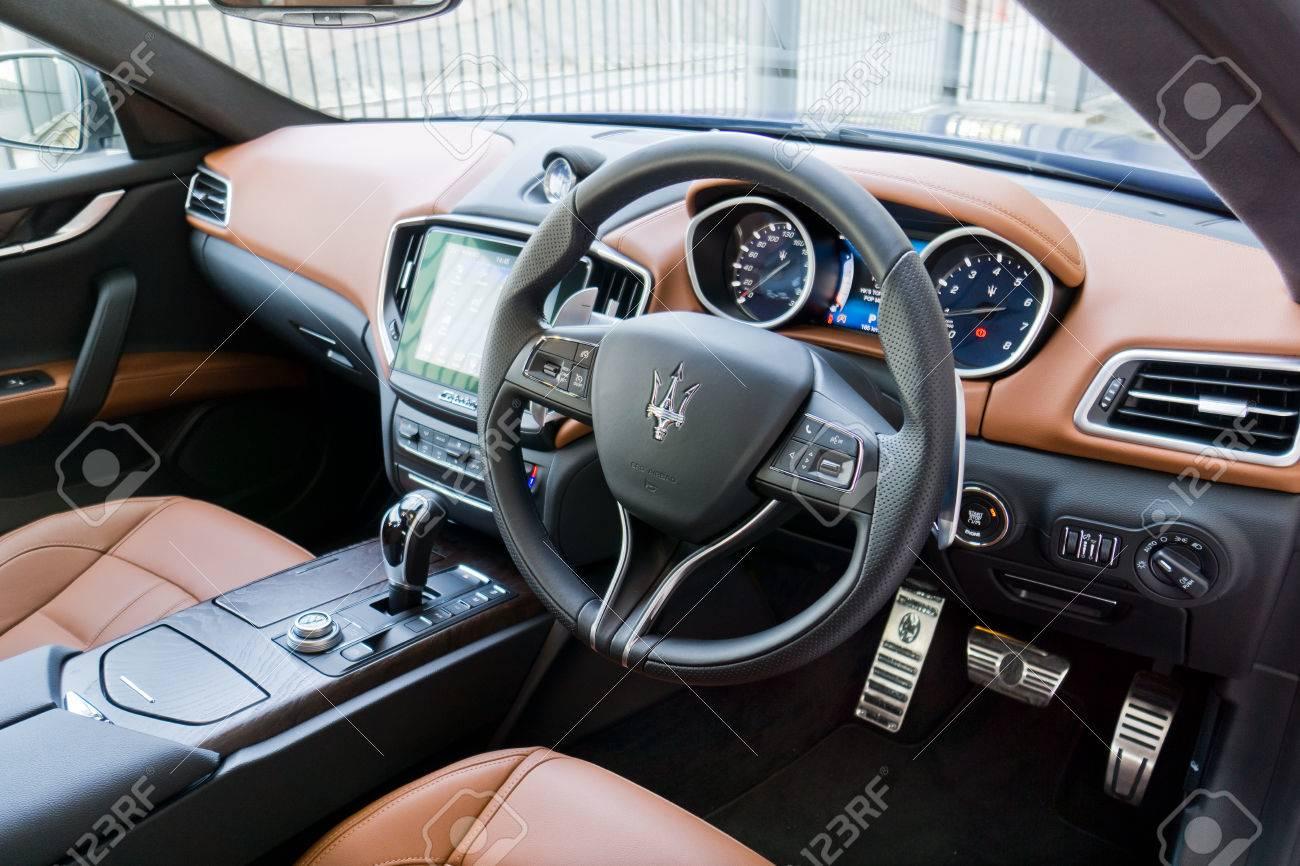 Hong Kong, China Oct 5, 2016 : Maserati Ghibli S Interior On Oct 5