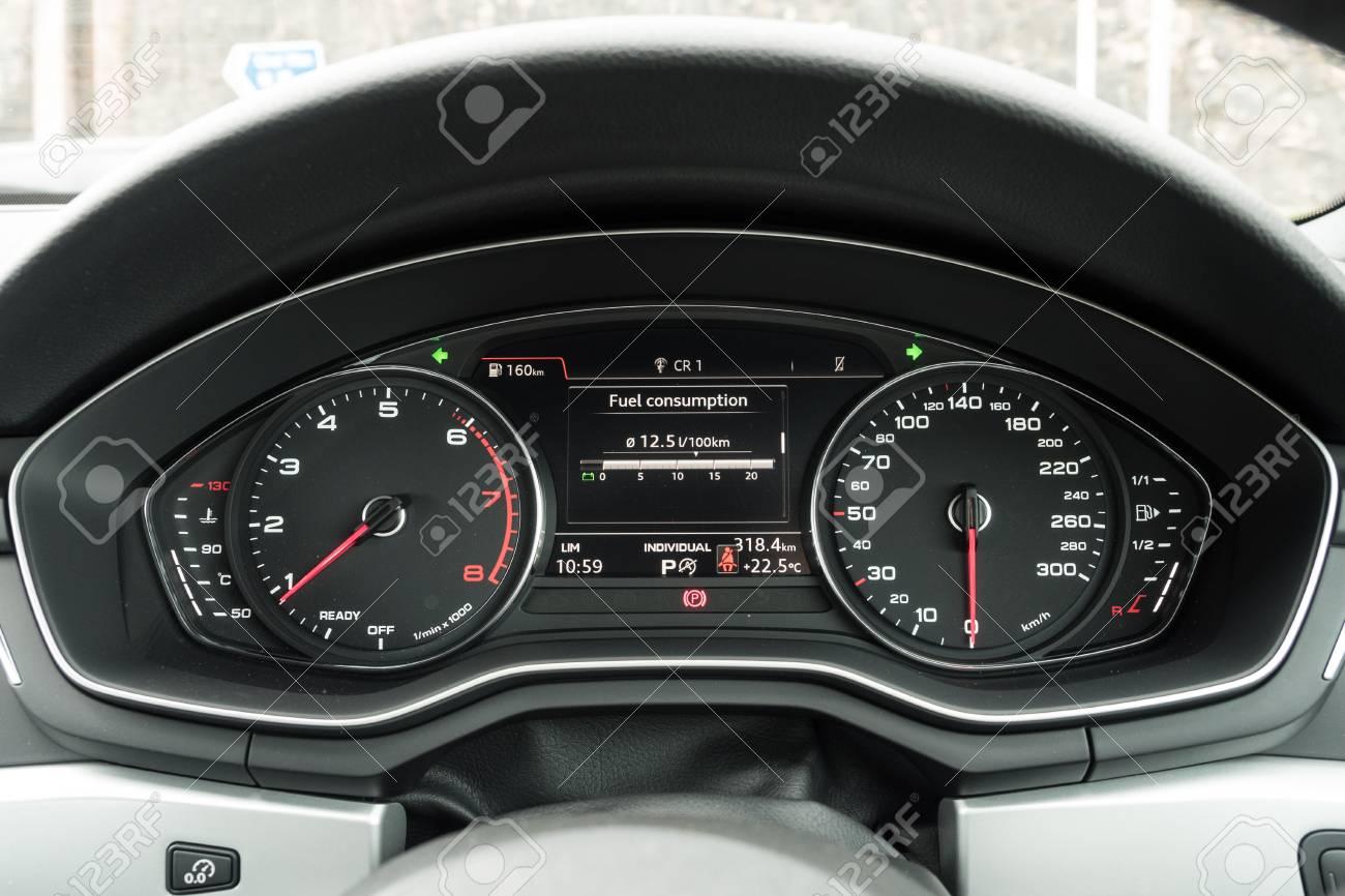 Hong Kong China April 20 2018 Audi A5 Coupe 2018 Dashboard