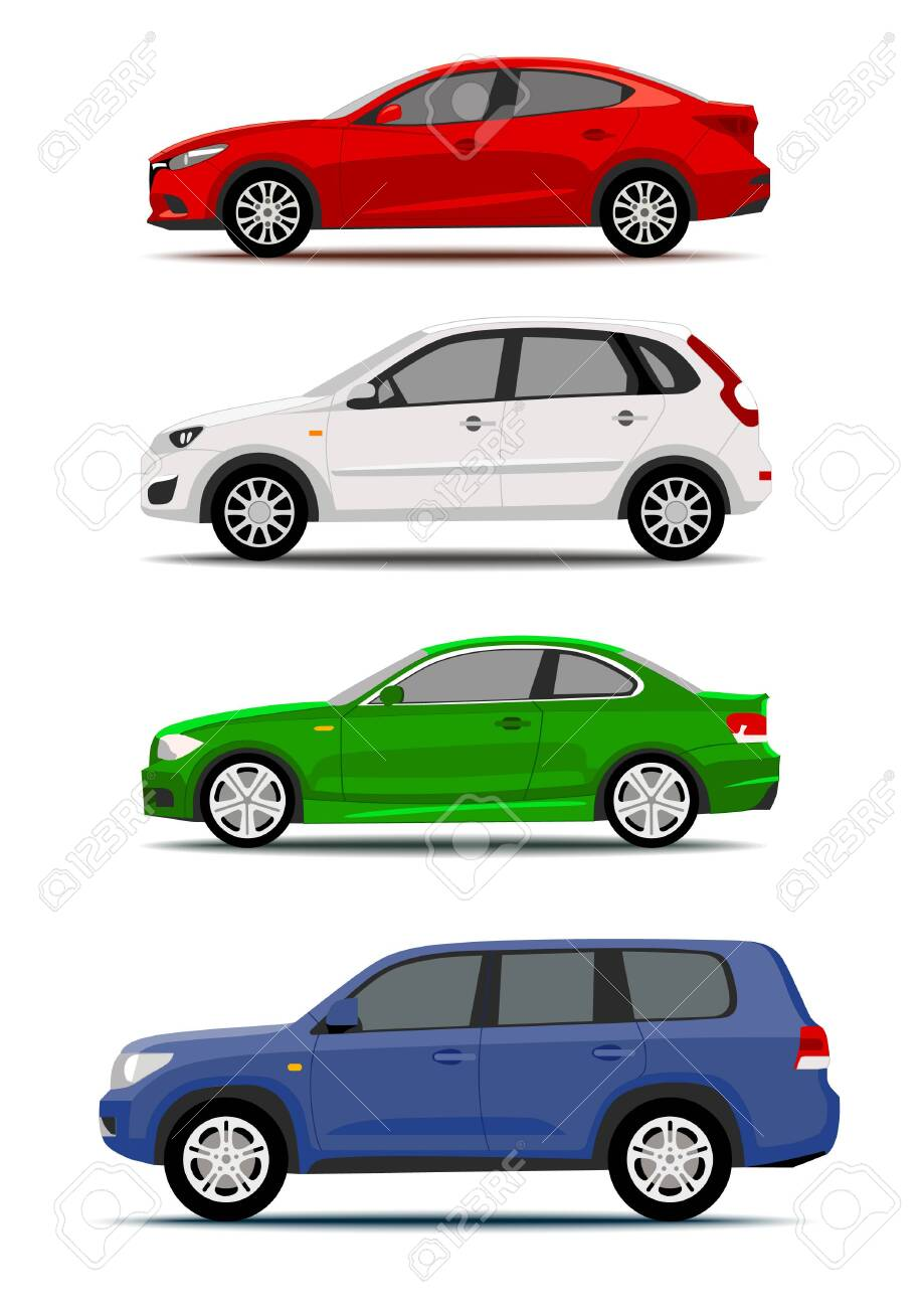 Colorful cars collection isolated on white. Icon or label design - 124269308
