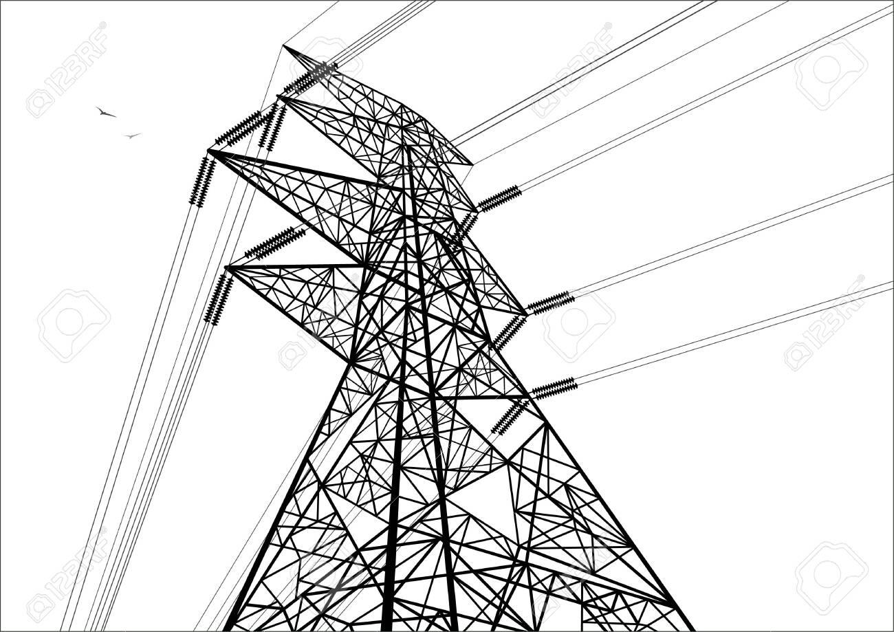 Power line construction. Line drawn image. - 123173853