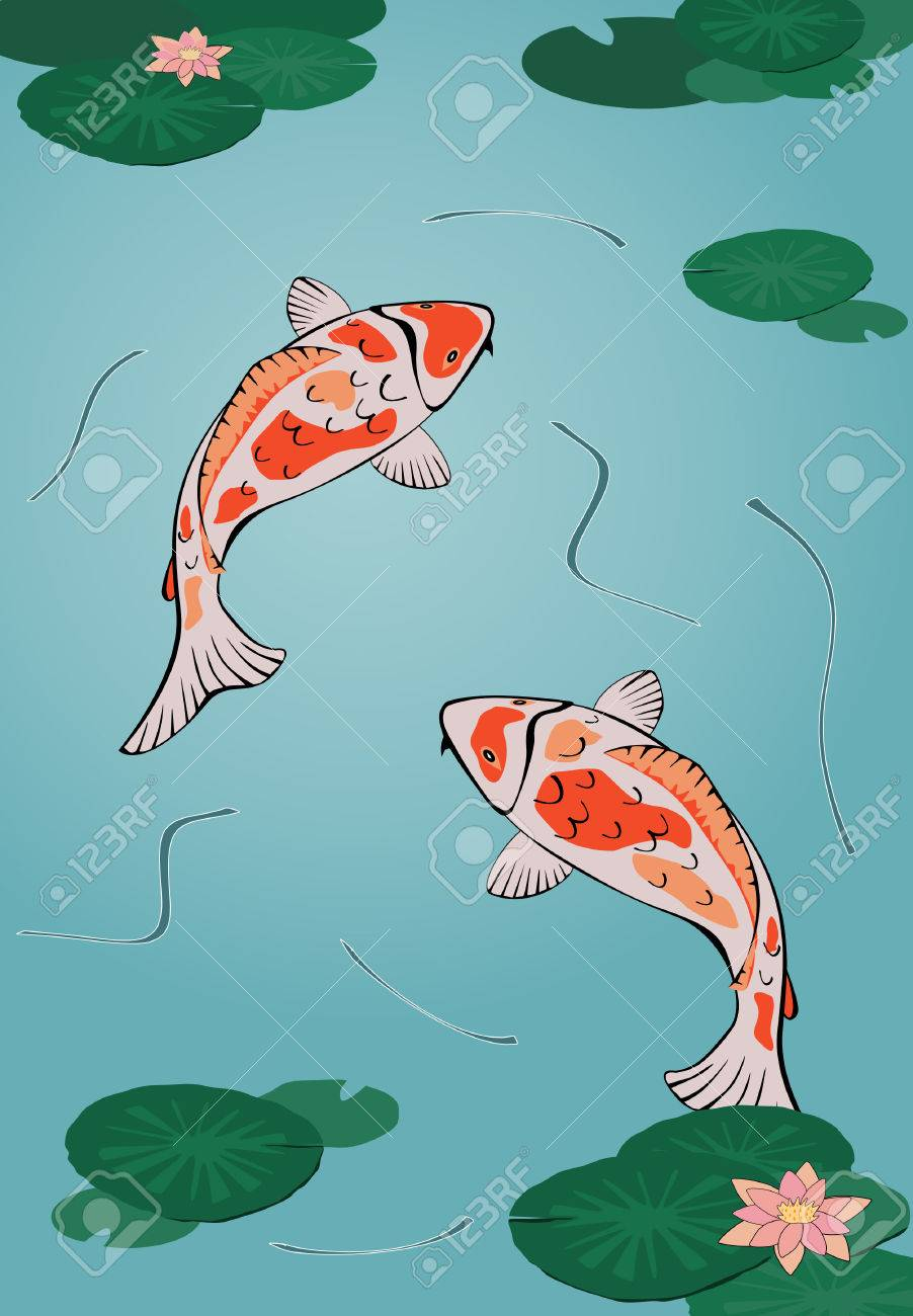two japanese koi swimming in pond with waterlilies Stock Vector - 3853684