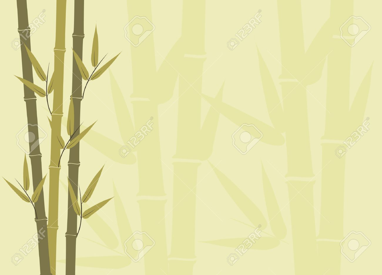 Illustration of bamboo stalks with subtle larger subtle stalks in background Stock Vector - 4010780