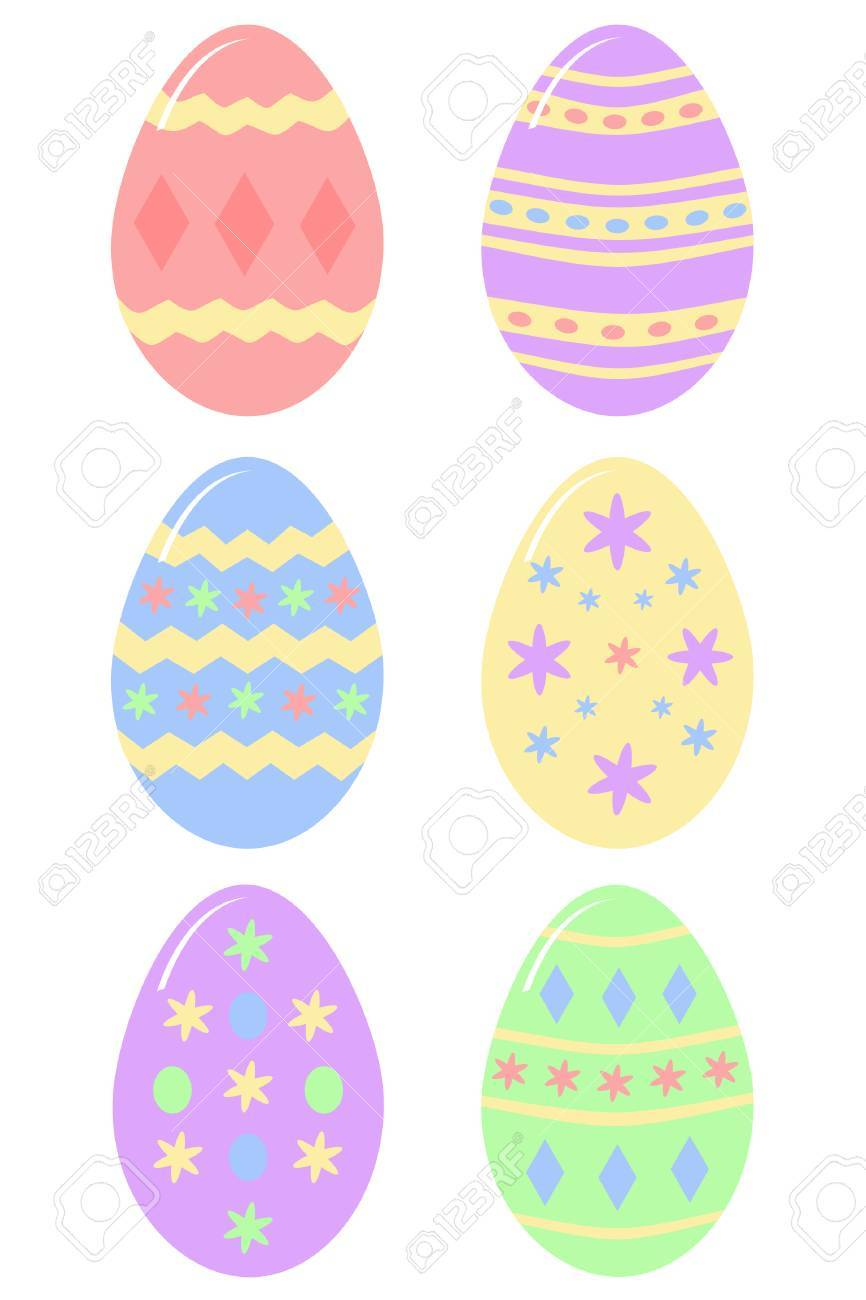 six colourful decorated Easter eggs Stock Vector - 4096937