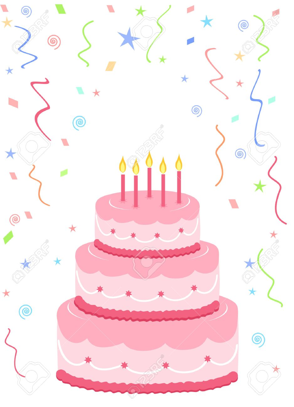 Pink Birthday Cake With Confetti On White Background Royalty Free