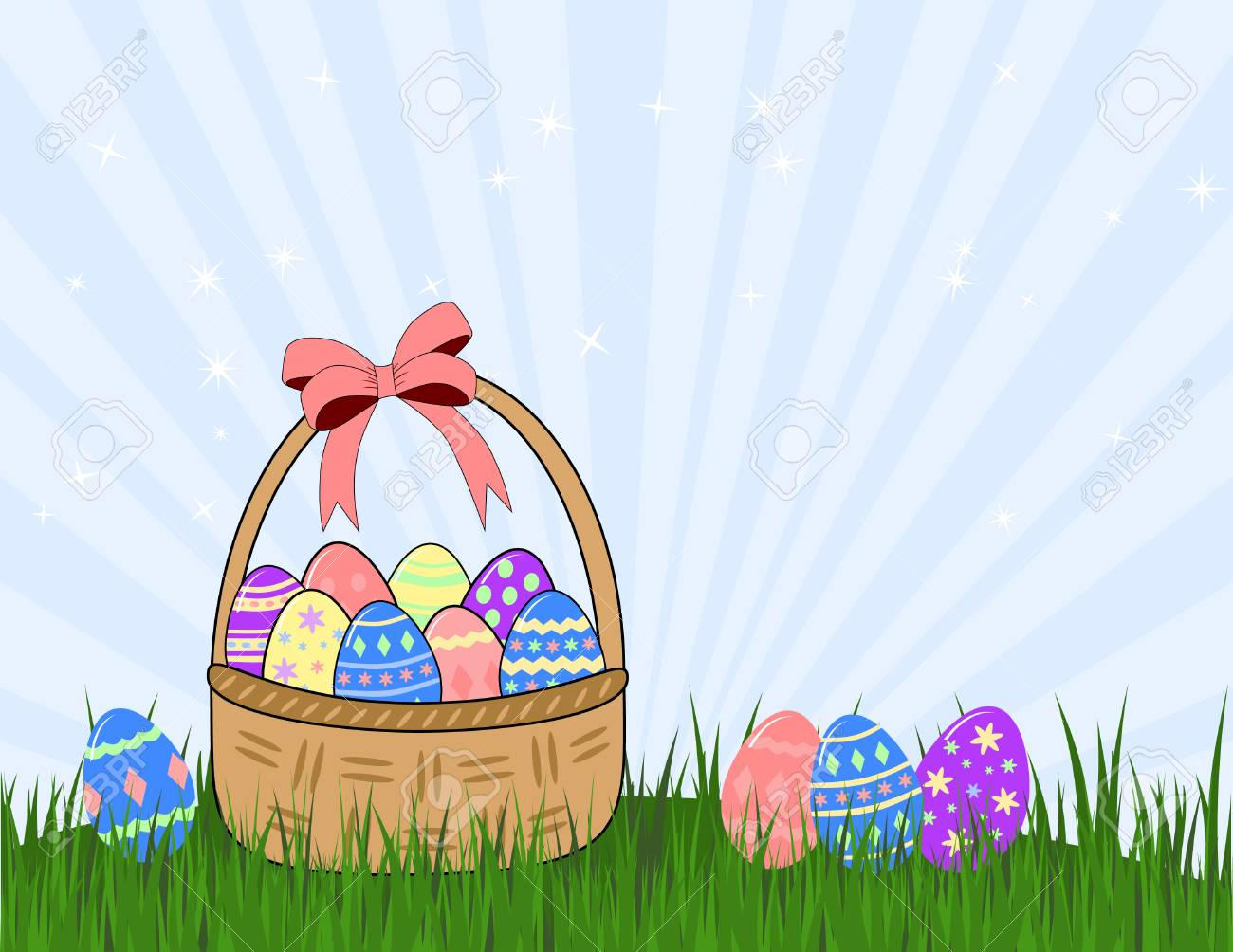 wicker basket and easter eggs on grass Stock Vector - 4529499
