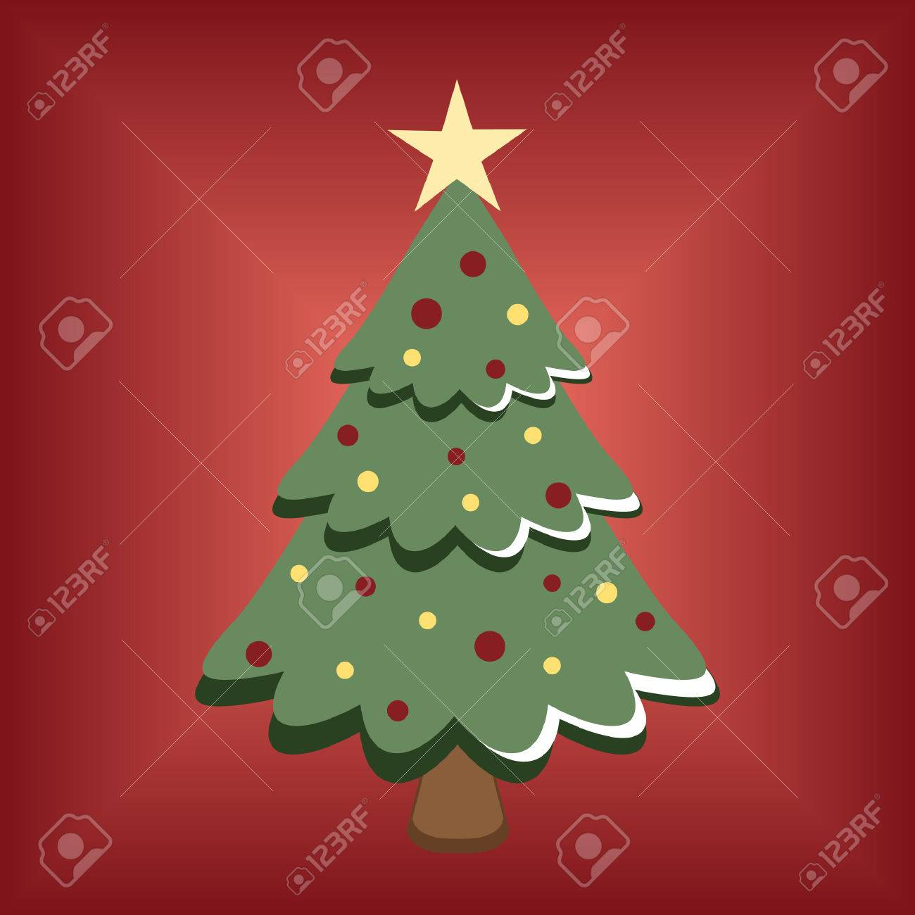 cartoon christmas tree on red background royalty free cliparts vectors and stock illustration image 5267017 cartoon christmas tree on red background