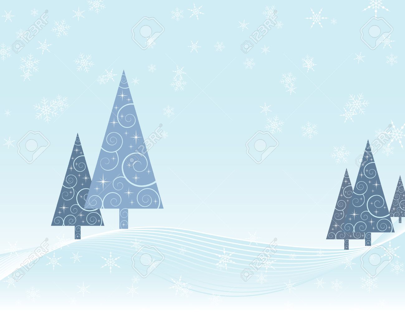 Christmas Card Depicting Winter Scene Of Trees With Swirl Pattern ...