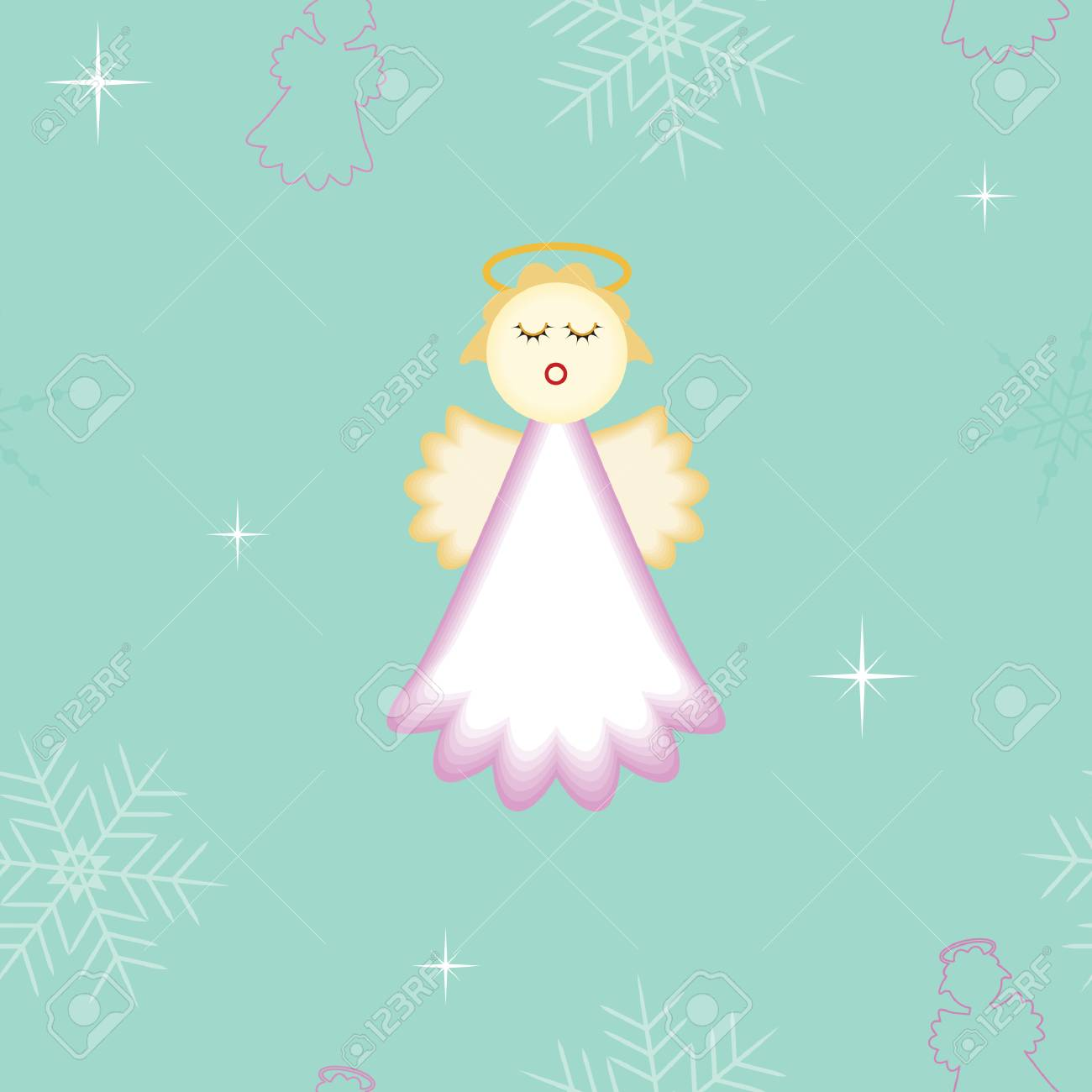 seamless Christmas angel with snowflakes and stars background Stock Vector - 5728705